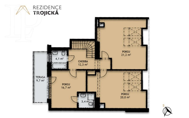 The new two-story duplex apartment (4 + kitchenette)
