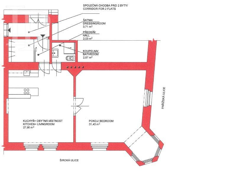 Prodej bytu 2+kk, 67 m² v Pařížské ulici